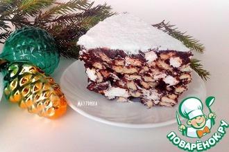 Рецепт: Шоколадный десерт с орехами, печеньем, маршмеллоу