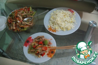 Рецепт: Свинина на китайский мотив с рисом и яйцом