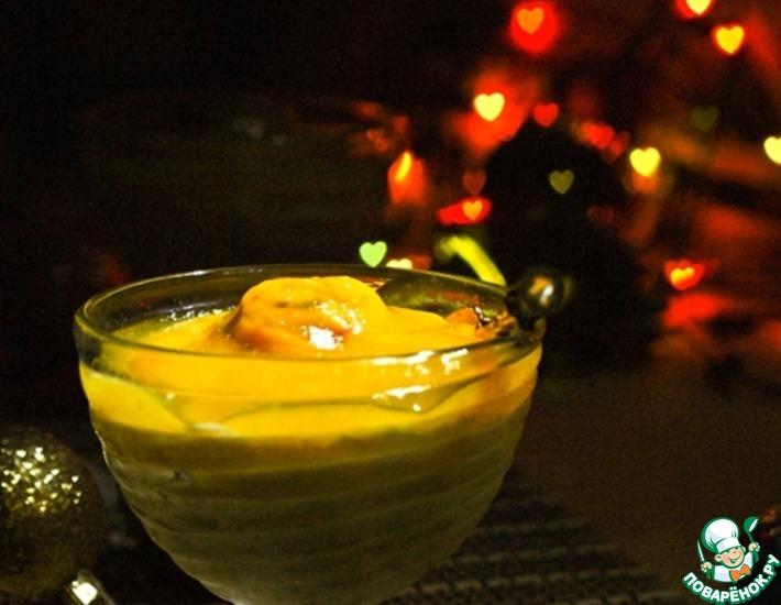 Рецепт: Пудинг из саго с персиковым соусом