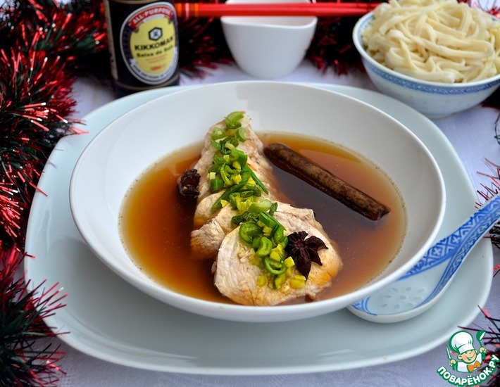 Рецепт: Курица томленая в бульоне по-китайски