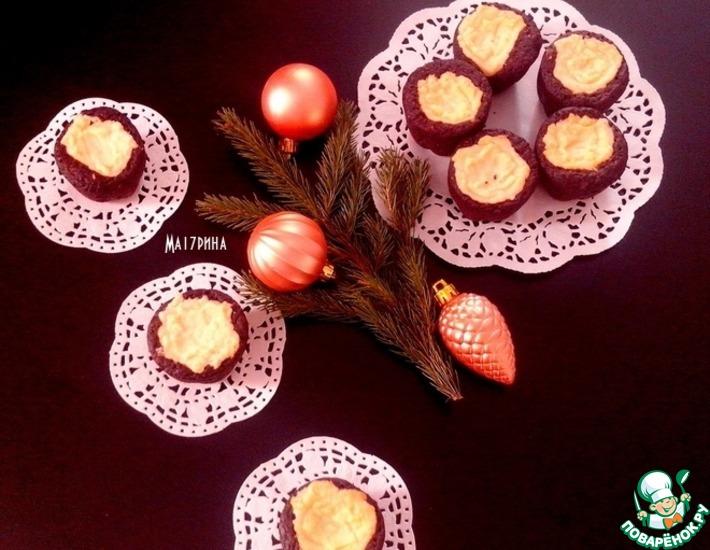 Рецепт: Шоколадные кексы с творожным кремом