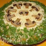 Закусочный сырно-грибной торт Полянка