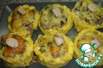 Рецепт: Картофельные лукошки с жульеном