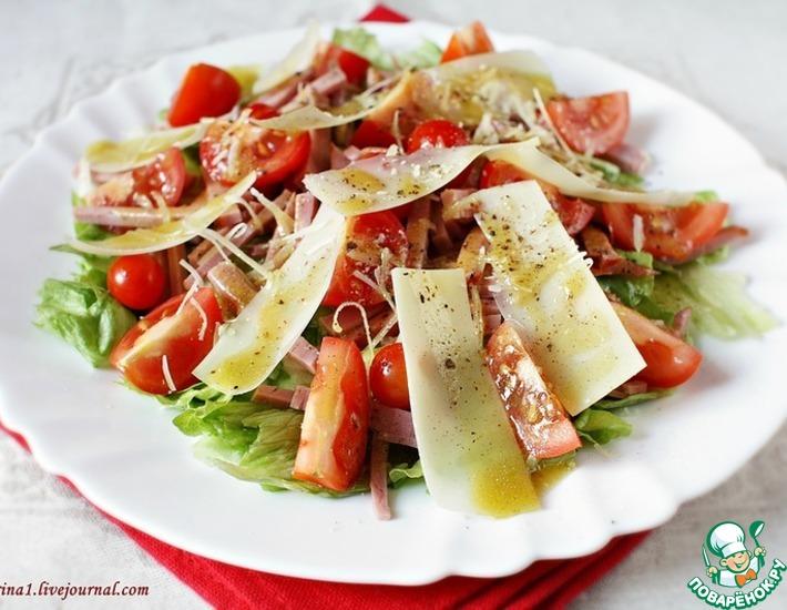 Рецепт: Салат с говядиной, черри и пармезаном
