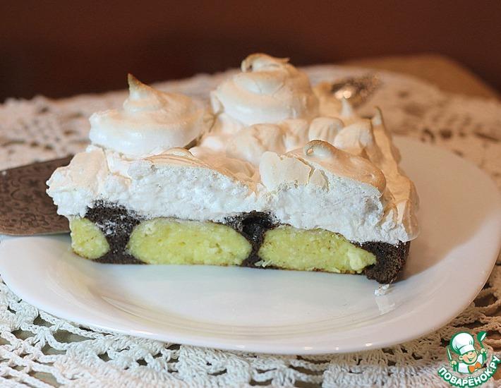 Рецепт: Шоколадный торт с творожными шариками и меренгой