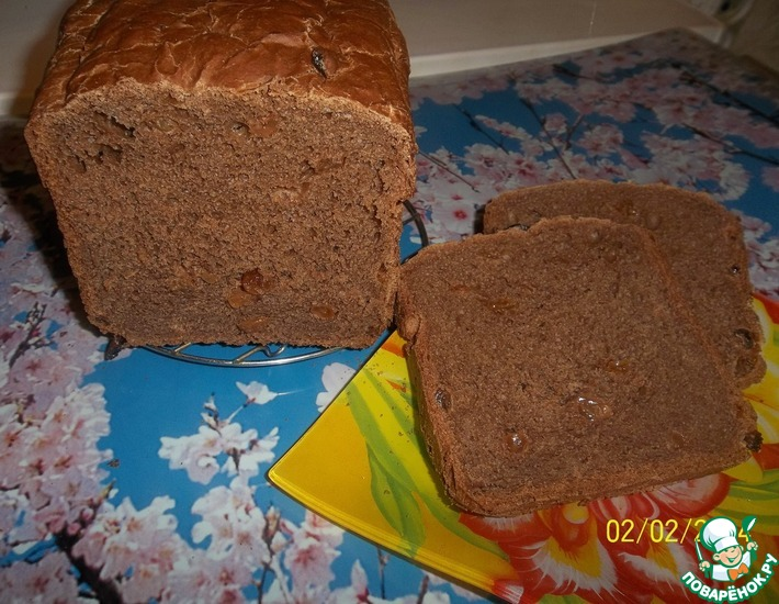 Рецепт: Шоколадный хлеб с изюмом