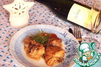 Рецепт: Кролик, томленый в белом вине и сметане с белыми грибами
