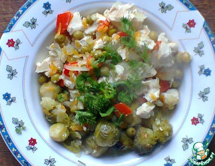 Рецепт: Филе курицы с брюссельской капустой в банке