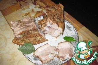 Рецепт: Свиная грудинка на луковой шелухе