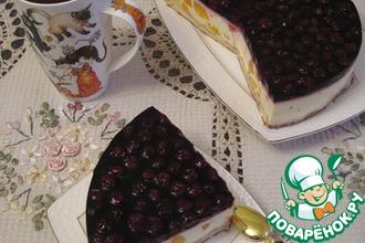 Рецепт: Творожный торт из слоеного теста с заварным кремом