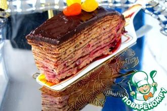 Рецепт: Торт Два шоколада блинный, с клюквой