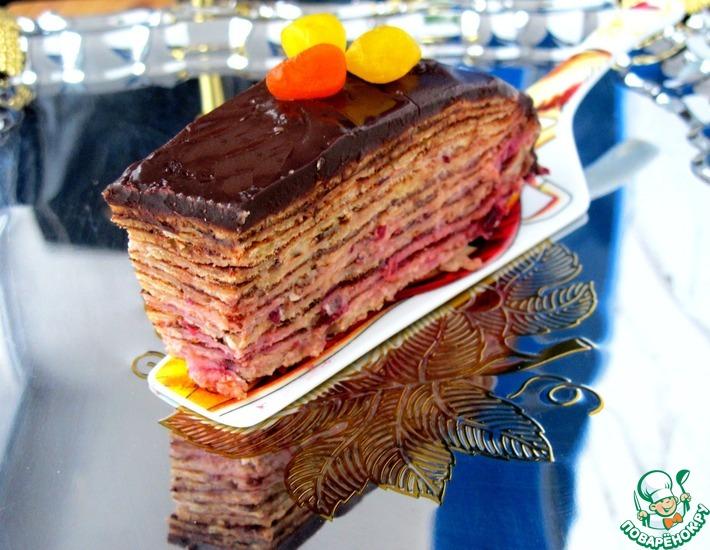 """Торт """"Два шоколада"""" блинный, с клюквой"""