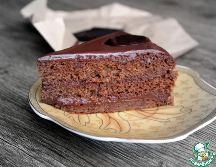 Рецепт: Бисквит Шоколадница с карамельно-шоколадным ганашем
