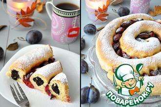 Рецепт: Сдобный спиральный пирог с черносливом