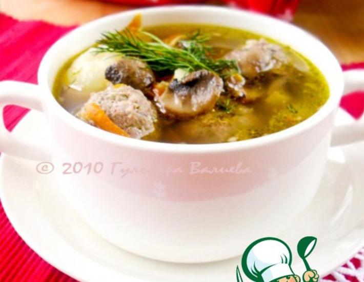 Рецепт: Суп из белой фасоли с грибами
