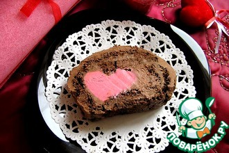 Рецепт: Шоколадный бисквитный рулет Сладкое признание