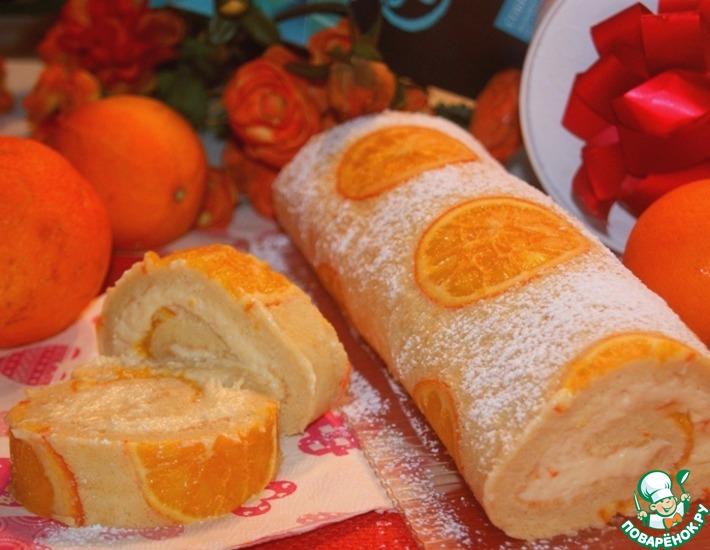 Рецепт: Бисквитный апельсиновый рулет