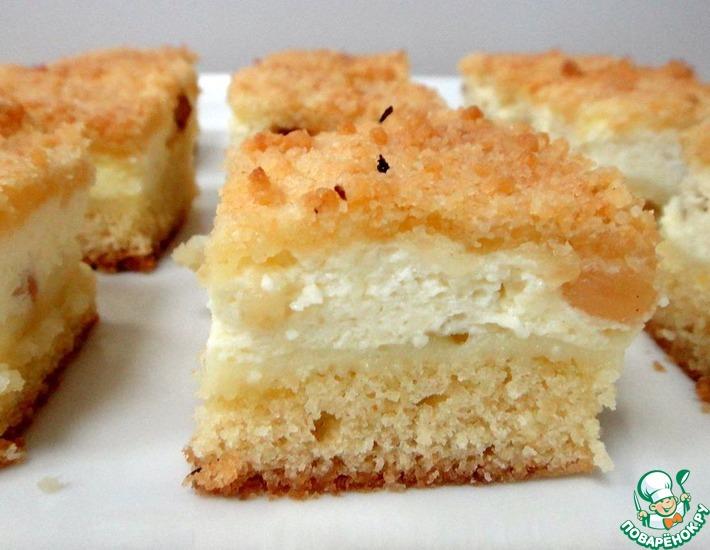 Рецепт: Песочный пирог с творожной начинкой