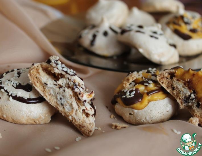 Воздушное шоколадно-кунжутное печенье