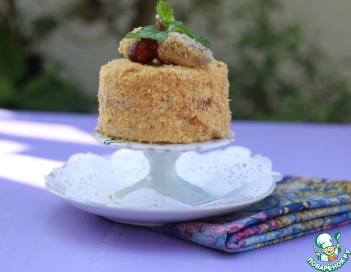Рецепт: Бисквитное клубнично-сливочное пирожное
