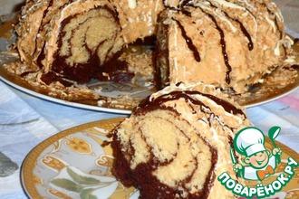 Рецепт: Ванильно-шоколадный кекс с соусом и кокосом