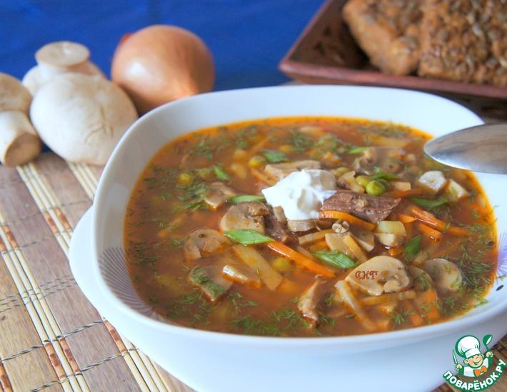 Рецепт: Суп из свинины с шампиньонами и горошком