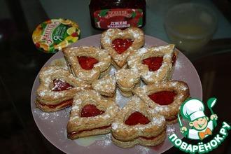 Рецепт: Миндальное печенье с малиновым джемом
