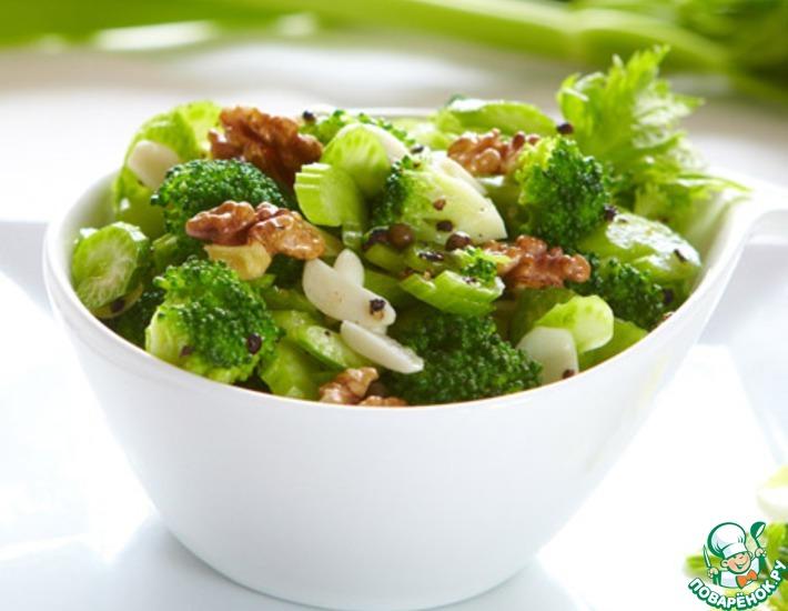 Рецепт: Салат из брокколи с душистым сельдереем и орехами