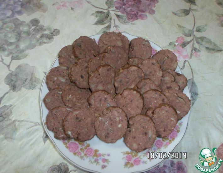 Рецепт: Колбаса из печени с шампиньонами