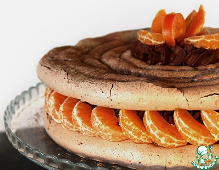 Рецепт: Шоколадно-мандариновый меренговый торт