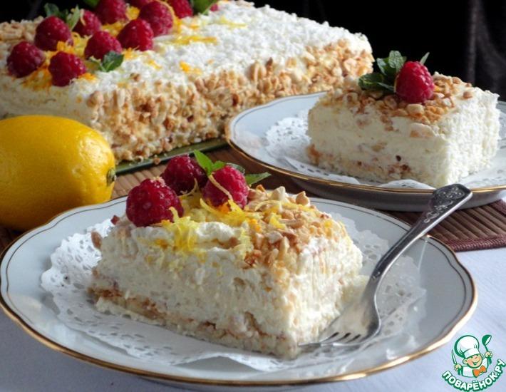 Рецепт: Нежный сливочный торт с безе