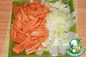 Carrots cut into sticks, onion - dice