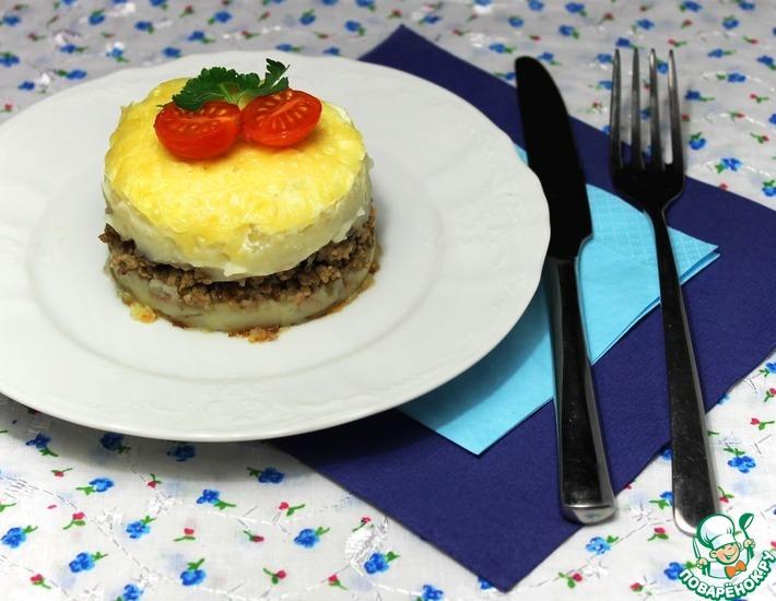 Рецепт: Картофельная запеканка с фаршем в мультиварке