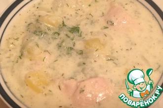 Рецепт: Белый суп из курицы в сметане