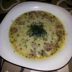 Крем-суп с грибами и охотничьими колбасками