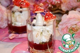 Рецепт: Веррины из малинового желе, сливок и безе