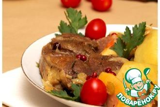 Рецепт: Баранина с айвой и овощами