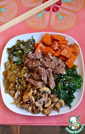 Свинина с грибами и овощами по-японски
