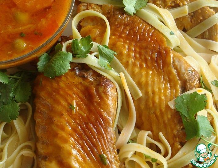 Рецепт: Куриные крылышки в соусе из оливок