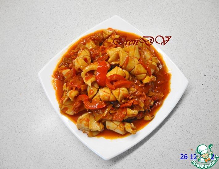 Рецепт: Острая закуска из кальмаров и овощей