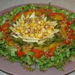 Овощной салат с сыром и кедровыми орехами