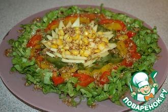 Рецепт: Овощной салат с сыром и кедровыми орехами