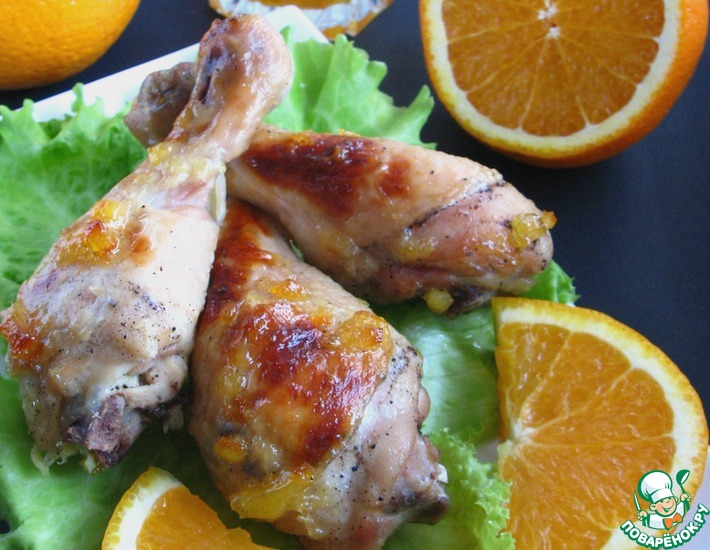 Рецепт: Куриные голени, запеченные с апельсиновым джемом