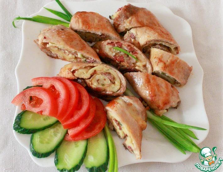 Мясной рулет с блинами – кулинарный рецепт