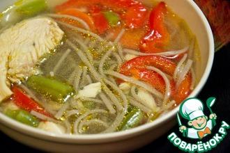 Рецепт: Куриный суп с гречневой лапшой