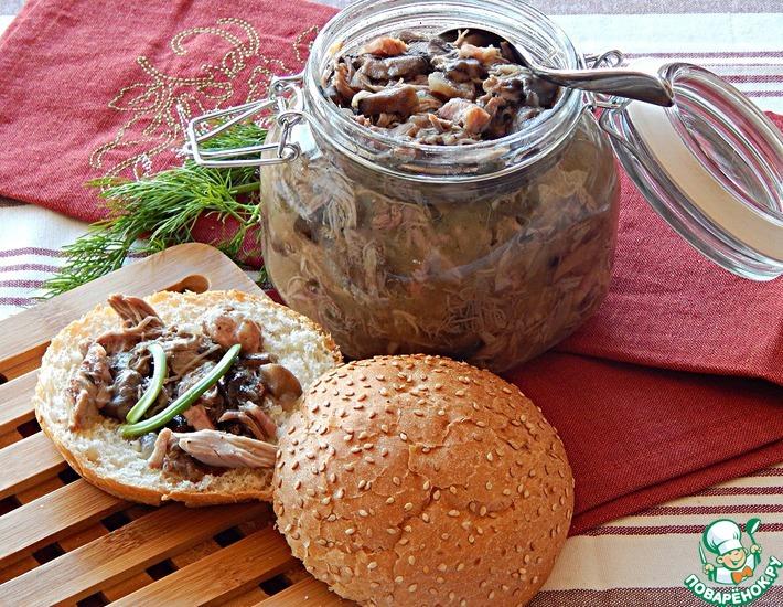 Рецепт: Утиный рийет с грибами