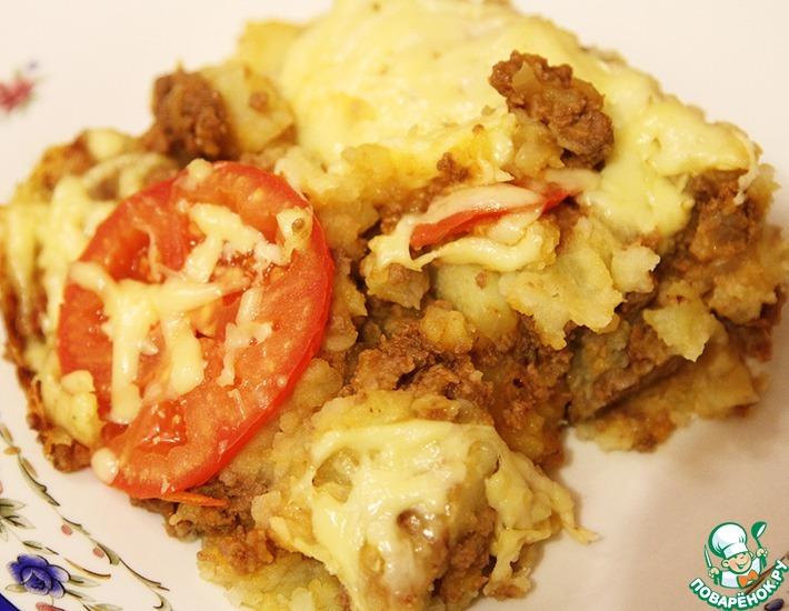 Рецепт: Картофельная запеканка с фаршем и помидорами