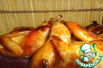 Рецепт: Перепела в соево-медовом маринаде с тимьяном