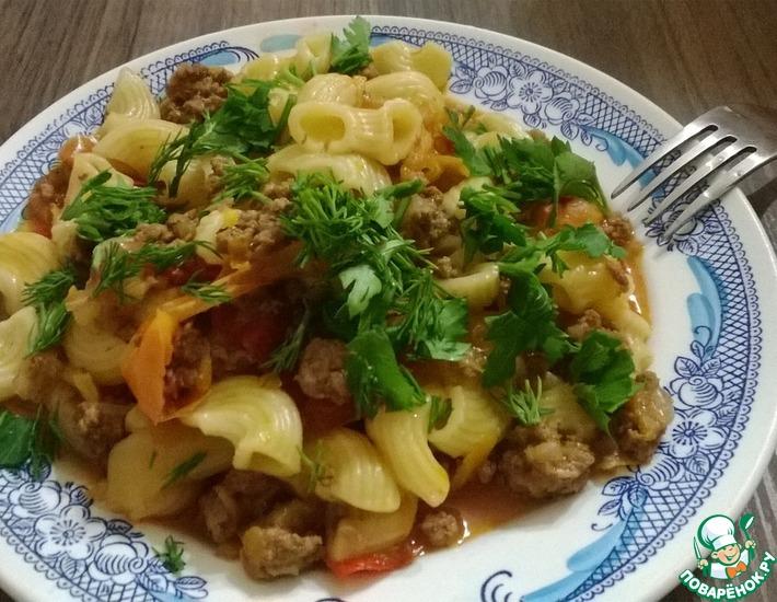 Рецепт: Макароны по-флотски под томатным соусом