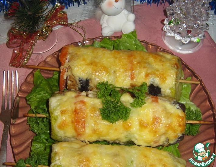 Рецепт: Шашлычки-овощи с фаршем